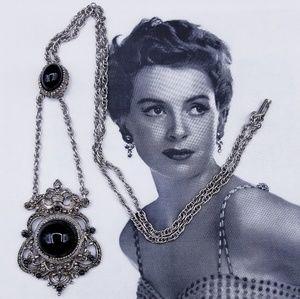 Vintage silvertone filigree & black glass necklace